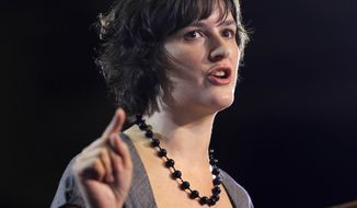 **FILE** Sandra Fluke introduces President Obama at a campaign event in Denver on Aug. 8, 2012. Fluke is a Georgetown law student who inadvertently gained notoriety when talk show host Rush Limbaugh spoke disparagingly of her testimony before Congress on the issue of contraception and insurance coverage. (Associated Press)