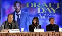 """Actors,from left, Kevin Costner, Jennifer Garner and Denis Leary appear at a news conference for the movie """"Draft Day"""" in New York on Friday, Jan. 31, 2014. The Seattle Seahawks play the Denver Broncos on Sunday at the stadium in the NFL Super Bowl XLVIII football game. (AP Photo/Paul Sancya)"""