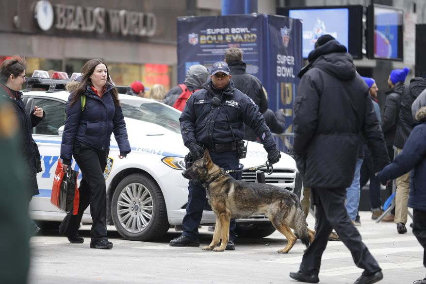 New York Police K9 officer Kirk Boone and his police dog Kato keep their eyes and ears on crowds attending Super Bowl attractions on Broadway, Friday, Jan. 31, 2014, in New York. Security was tight in the area as the day nears when the Seattle Seahawks will play the Broncos Sunday in the NFL Super Bowl XLVIII football game in East Rutherford, N.J. (AP Photo/Ted S. Warren)