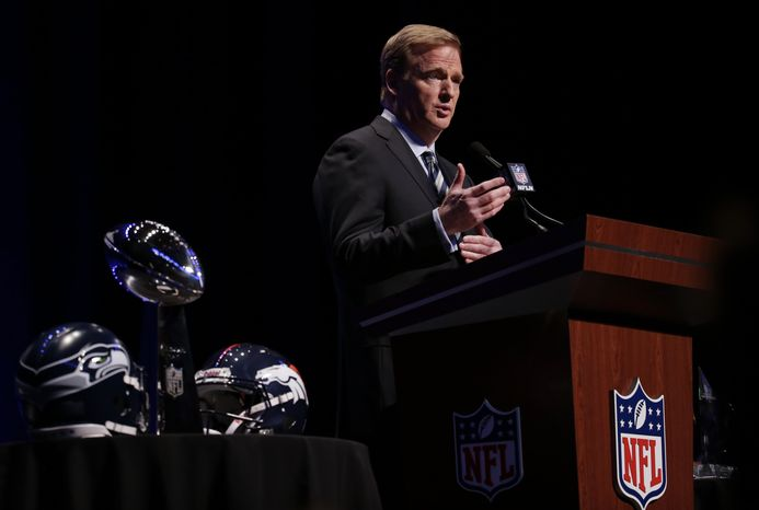 NFL comissioner Roger Goodell speaks at a news conference Friday, Jan. 31, 2014, in New York. The Seattle Seahawks are scheduled to play the Denver Broncos in the NFL Super Bowl XLVIII football game on Sunday, Feb. 2, at MetLife Stadium in East Rutherford, N.J. (AP Photo/Charlie Riedel)