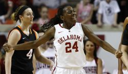 Oklahoma guard Sharane Campbell celebrates after scoring against Oklahoma Sate during the second half of an NCAA college basketball game in Norman, Okla., Saturday, Feb. 1, 2014. Oklahoma won 81-74. (AP Photo/Alonzo Adams)