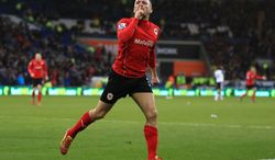Cardiff City's Craig Bellamy celebrates scoring against Norwich City during the English Premier League soccer match at Cardiff City Stadium, Cardiff, Saturday Feb. 1, 2014. (AP Photo/PA, Nick Potts) UNITED KINGDOM OUT  NO SALES  NO ARCHIVE