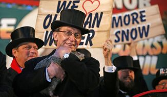Punxsutawney Phil is held by Ron Ploucha after emerging from his burrow Sunday, Feb. 2, 2014, on Gobblers Knob in Punxsutawney, Pa., to see his shadow and forecast six more weeks of winter weather. The prediction this year fell on the same day as Super Bowl Sunday.  (AP Photo/Gene J. Puskar)