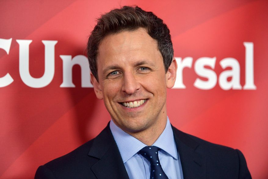 """FILE - Seth Meyers seen at the NBC/Universal Winter 2014 TCA on in this January. 19, 2014 file photo taken in Pasadena, Calif. Meyers has departed """"Saturday Night Live,"""" just weeks before he begins his new job as host of """"Late Night."""" Meyers co-anchored """"Weekend Update"""" on the NBC sketch-comedy series for eight seasons and was joined for his farewell newscast by """"SNL"""" alumni Amy Poehler, Andy Samberg, Bill Hader and Fred Armisen Saturday Feb. 1, 2014. (Photo by Richard Shotwell/Invision/AP/File)"""