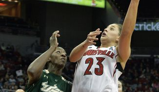 Louisville's Shoni Schimmel, right, shoots over the defense of South Florida's Alisia Jenkins during the first half of an NCAA college basketball game on Sunday Feb. 2, 2014, in Louisville, Ky. (AP Photo/Timothy D. Easley)