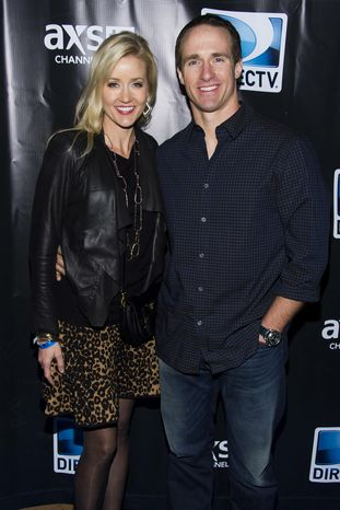 Brittany Brees and Drew Brees attend DIRECTV's Super Saturday Night Party on Saturday, Feb. 1, 2014 in New York. (Photo by Charles Sykes/Invision/AP)