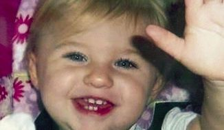 FILE - This undated file photo provided by Trista Reynolds, shows Ayla Reynolds, her two-year-old daughter, who went missing in December 2011 from the home of her father Justin DiPietro in Waterville, Maine. The Associated Press requested transcripts of the 911 call reporting the toddler's disappearance under the Freedom of Access Act, after the state supreme court ruled that transcripts should be made public unless law enforcement officials can show how releasing the documents would harm an investigation. (AP Photo/Trista Reynolds, File)