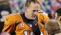 Denver Broncos' Peyton Manning walks off the field after the NFL Super Bowl XLVIII football game against the Seattle Seahawks Sunday, Feb. 2, 2014, in East Rutherford, N.J. The Seahawks won 43-8. (AP Photo/Chris O'Meara)