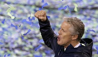 Seattle Seahawks head coach Pete Carroll reacts after the NFL Super Bowl XLVIII football game against the Denver Broncos Sunday, Feb. 2, 2014, in East Rutherford, N.J. The Seahawks won 43-8. (AP Photo/Charlie Riedel)