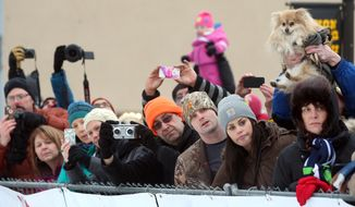 Race fans watch the start of the Yukon Quest International Sled Dog Race on Saturday morning, Feb. 1, 2014, in downtown Fairbanks, Alaska. Eighteen mushers started down the 1,000 mile trail to Whitehorse, Yukon.  (AP Photo/Fairbanks Daily News-Miner, Sam Harrel)