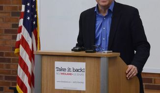 Rick Weiland, the Democratic candidate for one of South Dakota's two U.S. Senate seats, talks about the Medicare Choice Act he plans to introduce if elected, Tuesday, Feb. 4, 2014, in Sioux Falls, S.D. (AP Photo/Dirk Lammers)