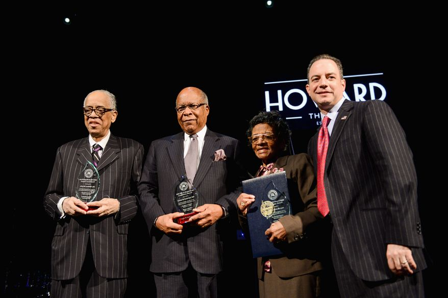 From left: Bill Brooks, former assistant secretary of labor; Louis W. Sullivan, former health secretary and Ohio Supreme Court Judge Sara J. Harper are awarded the 2nd annual Black Republican Trailblazer Award by the Republican National Committee Chairman Reince Priebus on Tuesday. (ANDREW HARNIK/THE WASHINGTON TIMES)