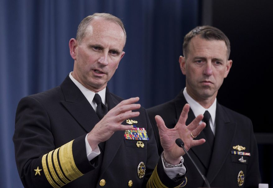 Chief of Naval Operations Adm. Jonathan W. Greenert, left, accompanied by Adm. John M. Richardson, director of the Naval Nuclear Propulsion Program, speaks during a news conference at the Pentagon, Tuesday, Feb. 4, 2014.  The Navy is investigating alleged cheating on tests by senior enlisted sailors training on naval nuclear reactors at Charleston, S.C., officials said Tuesday   (AP Photo/Manuel Balce Ceneta)