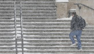 A student walks up the steps of Watson Library on the University of Kansas campus in Lawrence, Kan., Tuesday, Feb. 4, 2014. Classes are canceled due to severe weather.   A major winter storm brought heavy snow Tuesday across much of Kansas, threatening the Topeka area with up to a foot of snow.  Kansas government ground to a halt as lawmakers postponed legislative work and state departments urged their workers to stay home. Schools throughout the state canceled classes.  (AP Photo/Orlin Wagner)