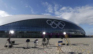 A television studio is set up in front of the Bolshoy Ice Dome, where the ice hockey will be held, ahead of the 2014 Winter Olympics, Tuesday, Feb. 4, 2014, in Sochi, Russia. (AP Photo/Petr David Josek)