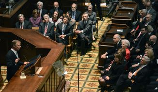 Tennessee Gov. Bill Haslam delivers his State of the State address to a joint session of the General Assembly, Monday, Feb. 3, 2014, in Nashville, Tenn. (AP Photo/Mark Zaleski)
