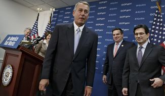 House Speaker John Boehner of Ohio, center, joined by, from left, House Majority Whip Kevin McCarthy of Calif., Rep. Cathy McMorris Rodgers, R-Wash., Rep. Richard Hudson, R-N.C., and House Majority Leader Eric Cantor of Va. leaves a news conference on Capitol Hill in Washington, Tuesday, Feb. 4, 2014, after speaking about the Keystone XL Pipeline and other issues, following a Republican Conference meeting. (AP Photo/J. Scott Applewhite)