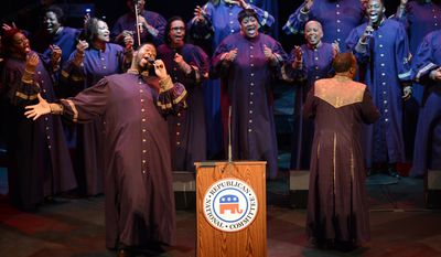 """Patrick Lundy and the Ministers of Music perform gospel songs before Judge Sara J. Harper of Ohio, Dr. Louis Sullivan of Georgia, and Michigan businessman William """"Bill Brooks are honored with the 2nd Annual Black Republican Trailblazer Award by the Republican National Committee and RNC Chairman Reince Priebus at the Howard Theatre, Washington, D.C., Tuesday, February 4, 2014. (Andrew Harnik/The Washington Times)"""