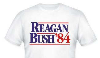 "The National Republican Congressional Committee is selling a ""vintage Reagan/Bush '84 campaign T-shirt"" in honor of Ronald Reagan's 103rd birthday. (NRCC)"