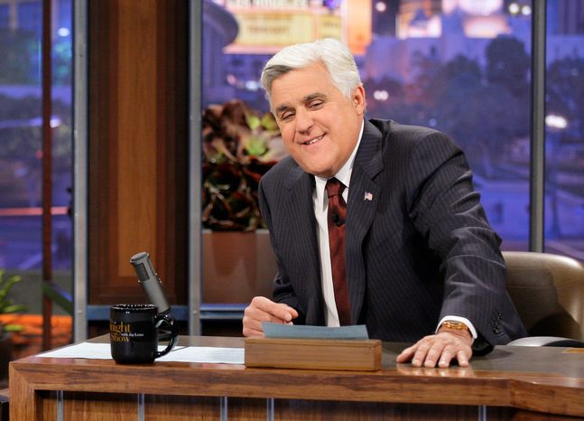 """Up next? Jay Leno has cracked nearly 44,000 jokes about politics and public affairs as host of the """"Tonight"""" show, mainly at the expense of Democrats. Some speculate that the comic will put his own hand in politics. (NBC via Associated Press)"""