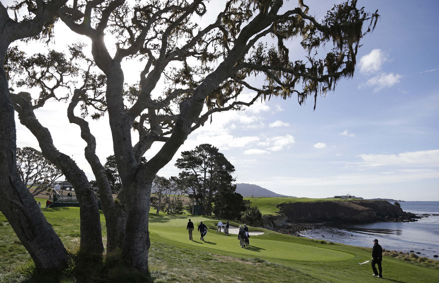 The playing group of amateurs Scott McNealy, Keith Williams, Greg Jamison and Marc Lautenbach make their way to the fifth green of the Pebble Beach Golf Links during a practice round at the AT&T Pebble Beach Pro-Am golf tournament Wednesday, Feb. 5, 2014, in Pebble Beach, Calif. McNealy co-founded Sun Microsystems. (AP Photo/Eric Risberg)