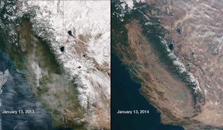 This image provided by NOAA compares January 13, 2013 and January 13, 2014 snow cover in Northern California and Nevada as seen by the Suomi NPP satellite. California, which is seeing its driest conditions in 500 years, is experiencing extreme drought in more than 62 percent of the state. (AP Photo/NOAA)