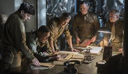"""This image released by Columbia Pictures shows Dimitri Leonidas, John Goodman, George Clooney, Matt Damon and Bob Balaban in """"The Monuments Men."""" (AP Photo/Columbia Pictures, Claudette Barius)"""
