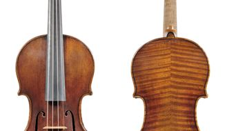 In this undated photo provided by the Milwaukee Symphony Orchestra is the 300-year-old Stradivarius violin that was stolen from MSO concertmaster Frank Almond. Police said Wednesday, Feb. 5, 2014 three people have been arrested in connection with the theft of the multi-million-dollar instrument that was on loan to Almond. Authorities say a robber used a stun gun on Almond and took the instrument from him in a parking lot. (AP Photo/Milwaukee Symphony Orchestra)