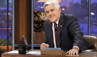 "This Nov. 5, 2012 photo released by NBC shows Jay Leno, host of ""The Tonight Show with Jay Leno,"" on the set in Burbank, Calif. After 22 years, Leno will host his last show on Thursday, Feb. 6, 2014. Jimmy Fallon starts his NBC ""Tonight Show"" on Feb. 17, 2014, from New York. (AP Photo/NBC, Paul Drinkwater)"