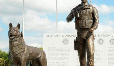 The U.S. Military Working Dog Teams National Monument in Texas honors the noble four-footed soldiers who sniff out explosives, brave the battlefield, save lives and die in the line of duty. (U.S. AIR FORCE)
