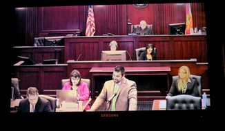 Cory Strolla, center, defense attorney for Michael Dunn, questions prospective jurors while State Attorney Angela Corey, second left, listens during jury selection in the trial of Michael Dunn, as seen on closed circuit video in the overflow courtroom, Wednesday, Feb. 5, 2014 in Jacksonville, Fla.   (AP Photo/The Florida Times-Union, Bob Mack)