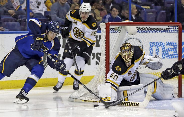 St. Louis Blues' Magnus Paajarvi, of Sweden, tries to get off a shot as Boston Bruins' Reilly Smith, center, and goalie Tuukka Rask, of Finland, defend during the second period of an NHL hockey game Thursday, Feb. 6, 2014, in St. Louis. (AP Ph