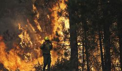 """FILE - This Aug. 25, 2013 file photo shows firefighter A.J. Tevis watching the flames of the Rim Fire near Yosemite National Park, Calif.  The House has approved a wide-ranging bill that speeds logging of trees burned in last year's massive Rim Fire in California. The measure also allows vehicular access to North Carolina's Cape Hatteras National Seashore, extends livestock grazing permits on federal land in the West and lifts longstanding restrictions on canoes, rafts and other """"hand-propelled"""" watercraft in Yellowstone and Grand Teton national parks. (AP Photo/Jae C. Hong, File)"""