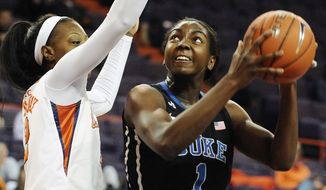 Duke's Elizabeth Williams (1) looks to shoot as Clemson's Quinyotta Pettaway, left, defends during the first half of an NCAA college basketball game on Thursday, Feb. 6, 2014, in Clemson, S.C. (AP Photo/Rainier Ehrhardt)