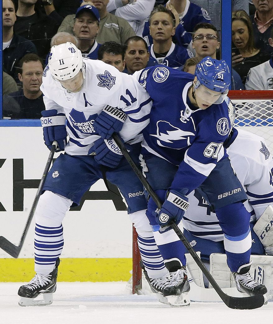 Toronto Maple Leafs center Jay McClement (11) ties up Tampa Bay Lightning center Valtteri Filppula (51), of Finland, in front of the goal during the first period of an NHL hockey game, Thursday, Feb. 6, 2014, in Tampa, Fla. (AP Photo/Chris O'Meara)