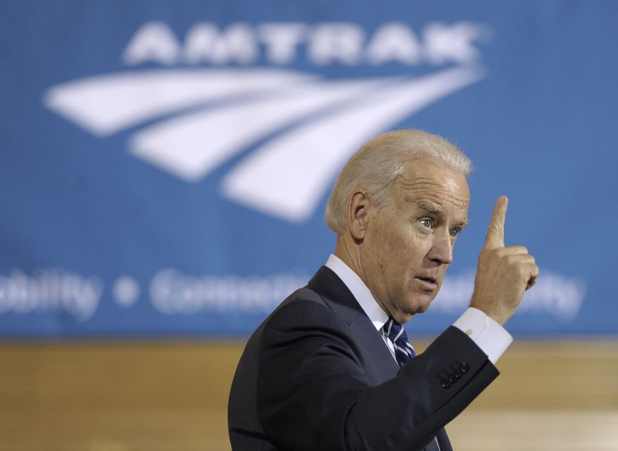 Vice President Joe Biden speaks to an audience gathered during an Amtrak Siemens ACS-64 Cities Sprinter electric locomotive unveiling, on Thursday, Feb. 6, 2014 in Philadelphia. Seventy new locomotives enter revenue service along the Northeast and Keystone corridors. (Michael Perez/AP Images for Siemens)