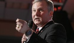 FILE - In this Nov. 6, 2012, file photo, U.S. Rep. Tim Griffin, R-Ark., speaks at a Republican Party of Arkansas election watch party in Little Rock, Ark. Griffin says he is considering running for Arkansas Lieutenant governor in 2014. (AP Photo/Danny Johnston, File)