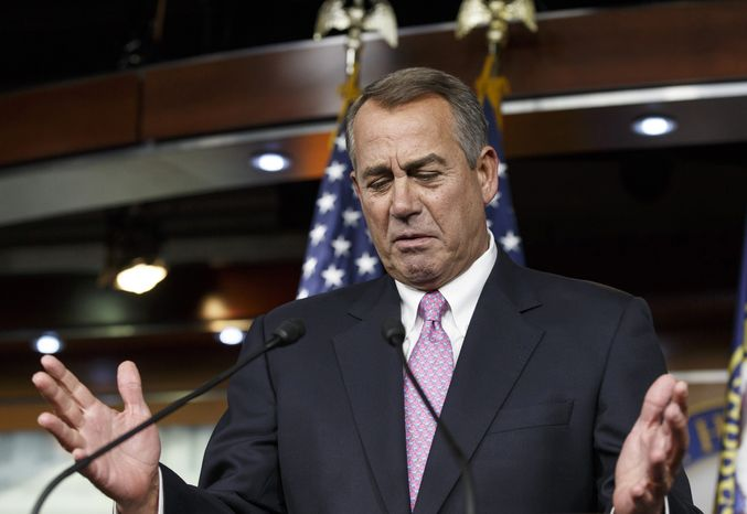 ** FILE ** In this Feb. 6, 2014, photo, House Speaker John Boehner of Ohio gestures while speaking during a news confer
