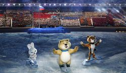 Robotic mascots perform during the opening ceremony of the 2014 Winter Olympics in Sochi, Russia, Friday, Feb. 7, 2014. (AP Photo/Robert F. Bukaty)