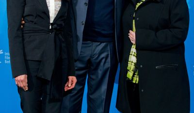 From left, actors Dolores Heredia, Forest Whitaker and actress Brenda Blethyn pose for photographers at the photo call for the film 'Two Men in Town' during the 64th Berlinale International Film Festival, on Friday Feb. 7, 2014, in Berlin. (AP Photo/dpa, Tim Brakemeier)
