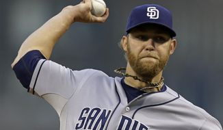 FILE - In this Sept. 16, 2013 file photo, San Diego Padres starting pitcher Andrew Cashner  throws against the Pittsburgh Pirates in the first inning of a baseball game in Pittsburgh. Cashner and the Padres have argued their cases at baseball's first salary arbitration hearing in two years. Eligible for arbitration for the first time, Cashner asked for a raise from $500,800 to $2.4 million. The Padres pushed for their figure of $2,275,000 during Friday's, Feb. 7, 2014  session. (AP Photo/Gene J. Puskar, File)