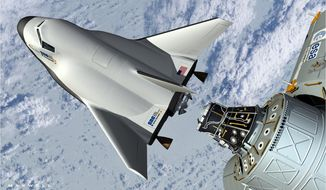ADVANCE FOR WEEKEND MEMBER EXCHANGE.; FOR SUNDAY, FEB.  9 - FILE - This artist's rendering provided by Sierra Nevada Space Systems shows the company's proposed Dream Chaser spacecraft docking with the International Space Station. The rise of commercial space raises questions about the future of Houston as Space City, which for the entire history of U.S. spaceflight has been responsible for training and managing the flights of U.S. astronauts.  (AP Photo/Sierra Nevada Space Systems, File)