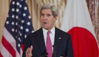 Secretary of State John Kerry speaks at the State Department in Washington, Friday, Feb. 7, 2014, after a meeting with Japanese Foreign Minister Fumio Kishida. (AP Photo/ Evan Vucci)