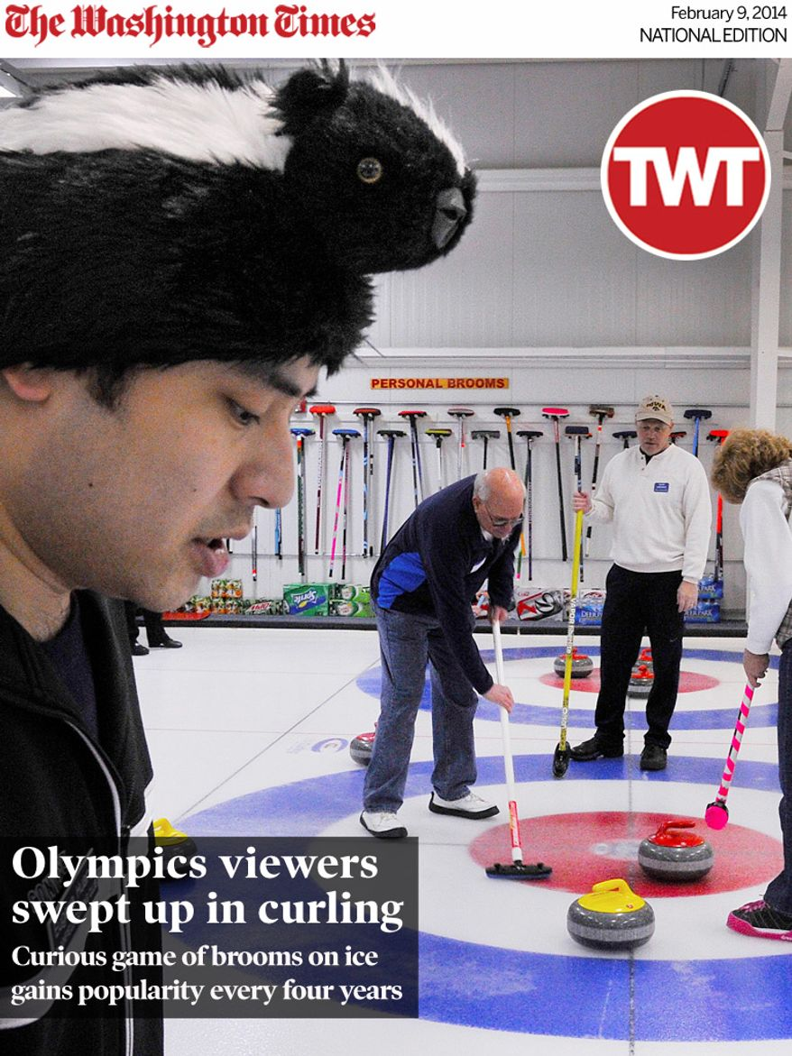 National Edition News cover for February 9, 2014 - Olympics viewers swept up in curling: Eugene Huang from the Plainfield Curling Club, N.J., keeps an eye on his team's sheet as others sweep for a score during the curling regional championship at the Potomac Curling Club in Laurel, Md. (Preston Keres/Special to The Washington Times)