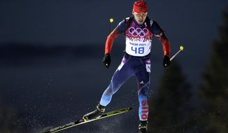 Russia's Anton Shipulin competes during the men's biathlon 10k sprint, at the 2014 Winter Olympics, Saturday, Feb. 8, 2014, in Krasnaya Polyana, Russia. (AP Photo/Felipe Dana)