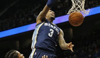 Memphis Grizzlies forward James Johnson (3) dunks as Atlanta Hawks forward Cartier Martin (20) defends during the second half of an NBA basketball game Saturday, Feb. 8, 2014, in Atlanta.  Memphis won 79-76. (AP Photo/John Bazemore)