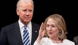 Vice President Joseph R. Biden and former Secretary of State Hillary Rodham Clinton will have a hard time cutting their ties to the Obama administration if they run for president in 2016. (Associated Press)