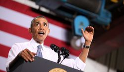 ** FILE ** President Barack Obama speaks at General Electric's gas engine facility in Waukesha, Wis., on Thursday, Jan. 30, 2014. (AP Photo/Milwaukee Journal-Sentinel, Mike De Sisti, Pool)
