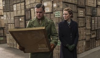 """This image released by Columbia Pictures shows Matt Damon, left, and Cate Blanchett in """"The Monuments Men."""" (AP Photo/Columbia Pictures, Claudette Barius, file)"""