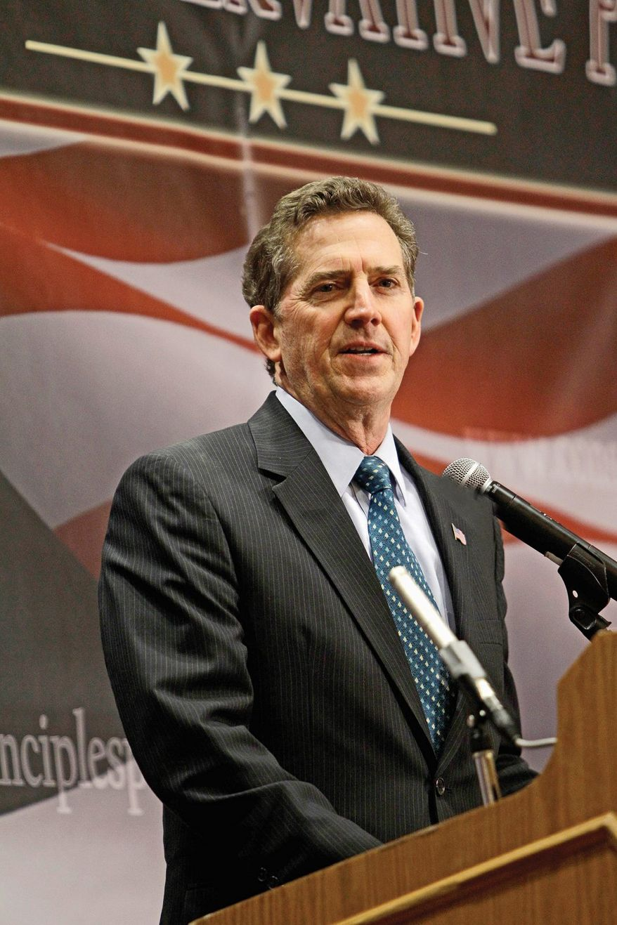 """Heritage Foundation President Jim DeMint, a former South Carolina senator, told a conservative policy summit organized by Heritage Action for America in Washington on Monday that conservatives """"must advance ideas and legislation that will build a stronger America."""" (ASSOCIATED PRESS)"""